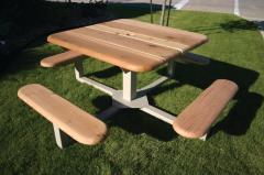 Square Wood Pedestal Picnic Tables, Naturals
