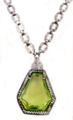 Peridot colored crystal & filigree
