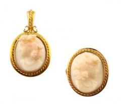 Antique shell cameo set (pendant and pin)