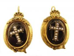 Victorian onyx, seed pearl cross mourning earrings