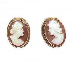 Vintage silver shell cameo earrings
