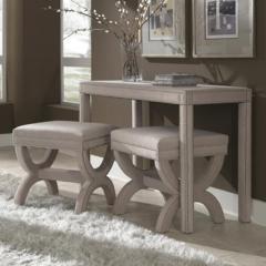 Elegant Upholstered Desk U0026 2 Ottomans With Nailhead