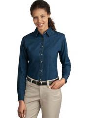 Ladies Long Sleeve Value Denim Shirt
