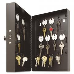 Hook-Style Key Cabinet, 28-Key, Steel, Black, 11