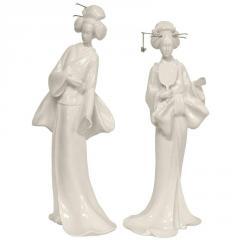 "13"" Pair of Standing Geisha Statues"