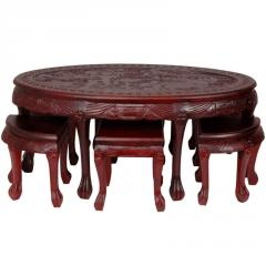 Carved Oval Coffee Table with Stools