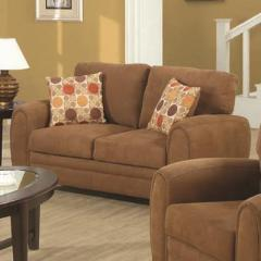 Sibley Contemporary Love Seat With Tapered Wood