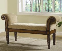 Upholstered Bench with Rolled Arms