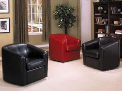 Montego Leather Swivel Accent Chair