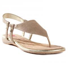 Nicole Champagne Linen Thong Sandal