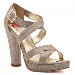 Sophia Metallic Linen Wrapped Heel