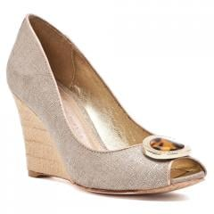 Charlotte Metallic Linen Peep-Toe Heel