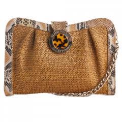 Vanessa Tobacco Crochet Raffia w/Python Trim