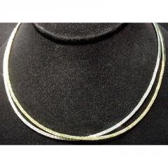 Two Tone Double Diamond Pave Bar Necklace - 14k
