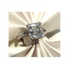 Handmade Platinum Engagement Ring 3.01 Asscher