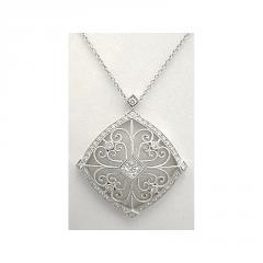 Diamond Open Scrollwork Necklace - 18k