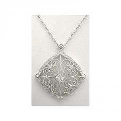 Diamond Open Scrollwork Necklace - 18k