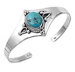 Turquoise 4 Corners Sterling Silver Cuff Bangle