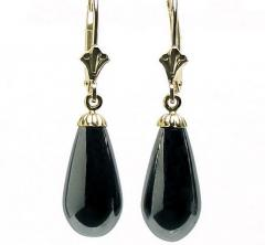 16mm Black Onyx Teardrop Leverback Earrings