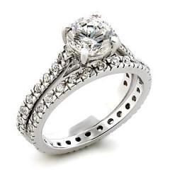 2.1ct Ice on Fire CZ Eternity Wedding Ring