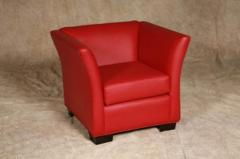 Red lea leather armchair