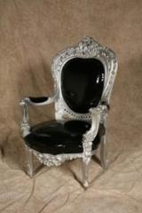 Silver black patent Louis chair