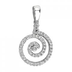 14K White Gold Diamond Swirl Circle Pendant
