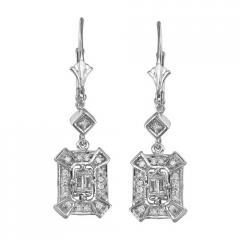 14K White Gold Dangle Drop Diamond Earrings