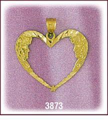 14Kt Gold Goddess Designer Heart Charm
