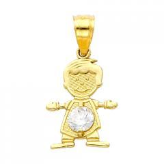 14K Gold Birthstone Baby Boy Charm