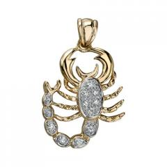 14K Yellow Gold Diamond Scorpion Pendant