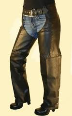 Leather Biker Chaps with Braid