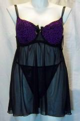 Plus Animal Flocked Purple/Black Babydoll