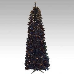 Black Slim Pre-Lit Artificial Christmas Tree