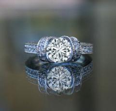 1.5CT ROUND SIMULATED DIAMOND-DIAMOND VENEER RING