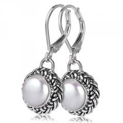 Sterling silver white mother of pearl earrings