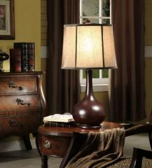 Set of 2 Dark Red & Fabric Shade Table