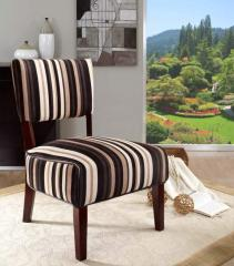 Stripe Fabric Oversized Seat Accent Chair