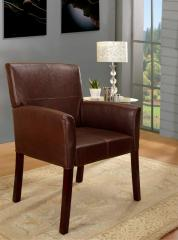 Brown Faux Leather With Cherry Finish Wood Legs