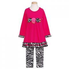Baby Little Girls Fuchsia Zebra Rosette Outfit