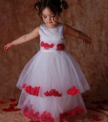 Red Petal Wedding Flower Girl Pageant Dress 2T-14