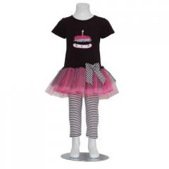 Black Pink Birthday Cake Tulle Stripe Outfit Girl