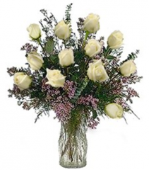 One-Dozen White Love Roses