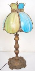 Vintage table lamp base with bent-glass dome shade
