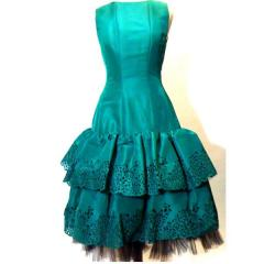 Oscar de la Renta Emerald Cocktail Dress