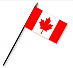 8 x 12 in. Rayon Canada Flag Mounted on 18 in.