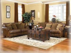 Ralston Teak Leather Living Room Group
