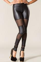 Faux Leather Mesh Leggings