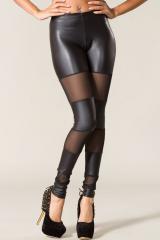 Faux Leather Mesh Leggings