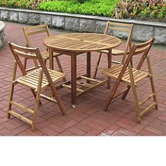 Round Folding All-Weather Wood Table Set